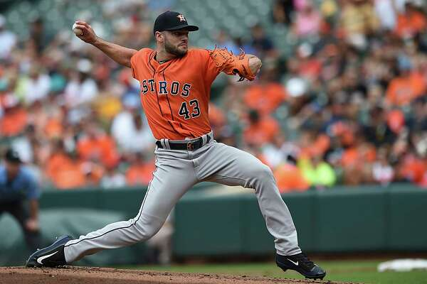 Houston Astros pitcher Lance McCullers throws against the Baltimore Orioles in the first inning of a baseball game, Sunday, July 23, 2017, in Baltimore. (AP Photo/Gail Burton)