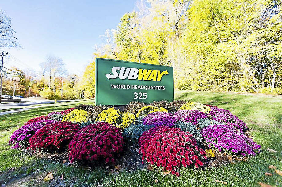 The Subway World Headquarters sign in Milford on Sub Way. Photo: Courtesy Of Subway Headquarters
