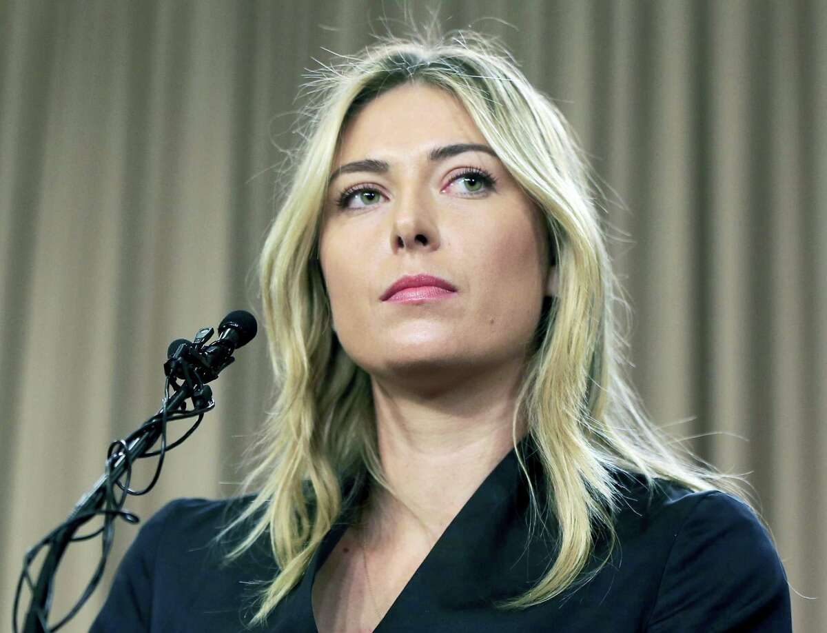 In this March 7, 2016 photo, tennis star Maria Sharapova speaks about her failed drug test at the Australia Open during a news conference in Los Angeles. Maria Sharapova will find out the week starting May 15, 2017 if she can compete at the French Open, the French Tennis Federation said.