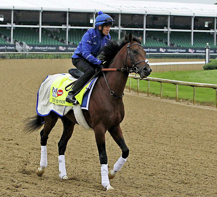 Exercise rider Daragh O'Donohoe prepares to gallop Kentucky Derby entrant Thunder Snow at Churchill Downs in Louisville, Ky. on May 4, 2017. Photo: AP Photo — Garry Jones   / FR50389 AP