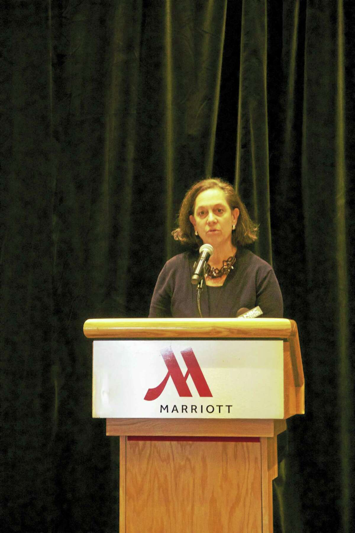 Joette Katz, commissioner of the state Department of Children and Families speaks at a press conference Thursday announcing a new public-private partnership aimed at increasing awareness about human trafficking in the state. (Anna Bisaro - New Haven Register)