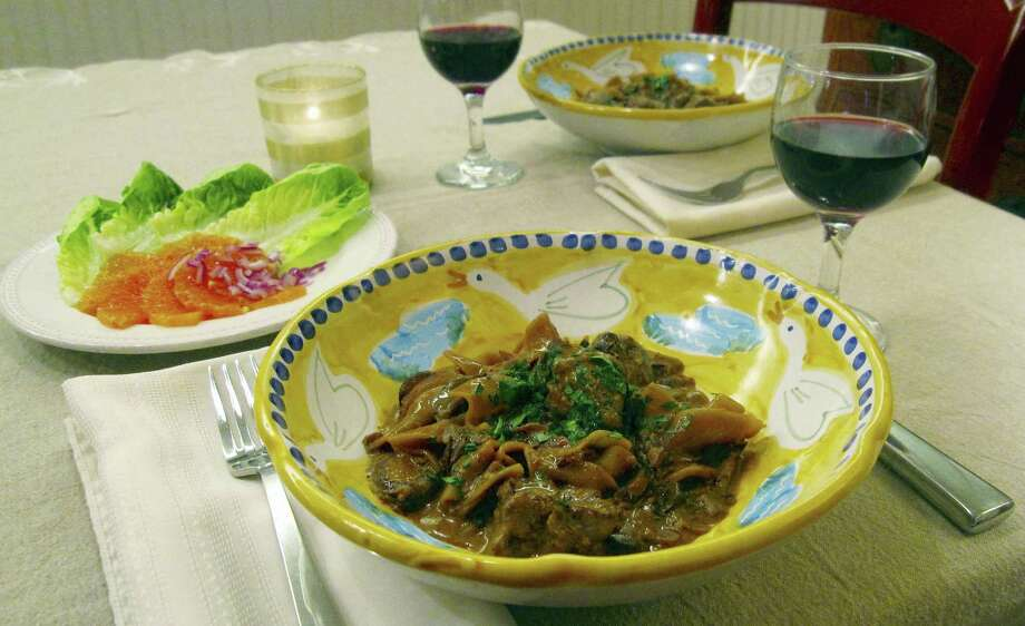 This amped-up beef stroganoff is a one-pot noodle dish made with filet mignon, dried mushrooms, tomato paste and Dijon mustard. It's a perfect dish for Valentine's Day. Photo: Sara Moulton — The Associated Press   / Sara Moulton