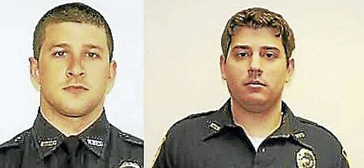 West Haven police Officers Matt Jordan, left, and Tim Healey