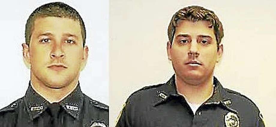 West Haven police Officers Matt Jordan, left, and Tim Healey Photo: West Haven Police Department