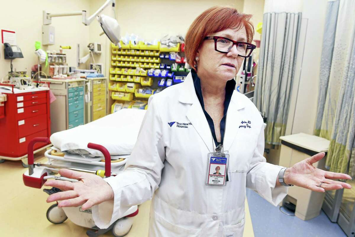 In this file photo, Dr. Gail D'Onofrio, medical director of the Department of Emergency Medicine at Yale New Haven Hospital, is photographed in the resuscitation room of the hospital's emergency department following an overdose public health emergency in June 2016.