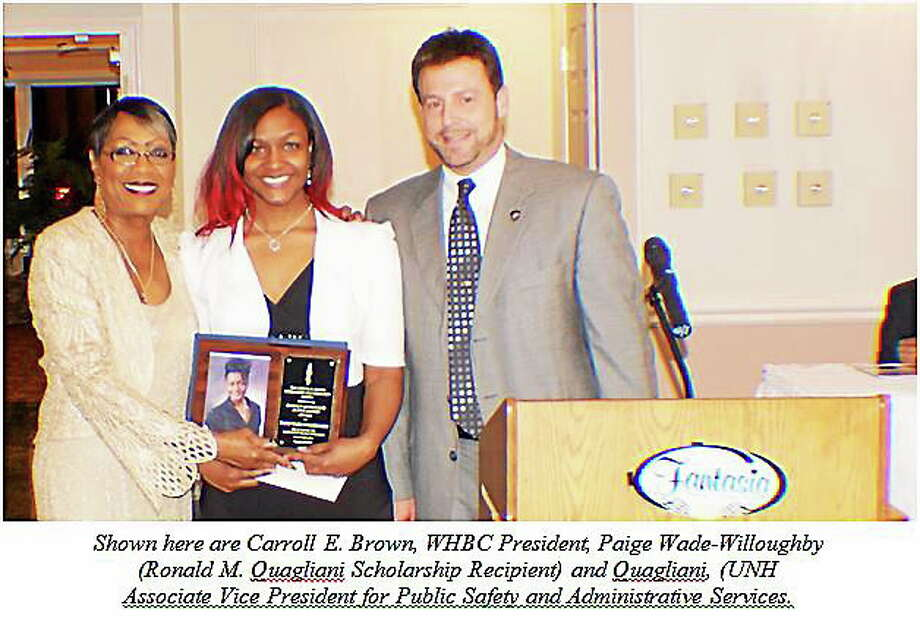 Two University of New Haven students from West Haven recently were awarded scholarships at the 28th annual Carroll E. Brown Scholarship and Community Awards Dinner hosted by the West Haven Black Coalition. Paige Wade-Willoughby was presented with the Ronald M. Quagliani Scholarship. The scholarship is awarded to a UNH student who is pursuing a degree in the field of criminal justice. Photo: Contributed Photo