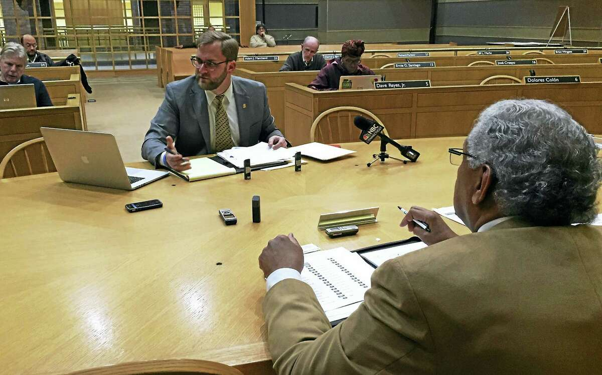 New Haven transportation director Doug Hausladen speaks to the Board of Alders Public Safety Committee Thursday at City Hall.