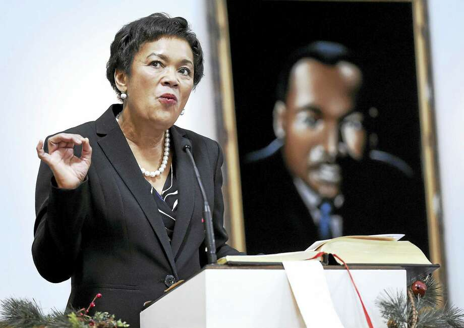 New Haven Mayor Toni Harp speaks at the 31st annual Tribute to the Rev. Dr. Martin Luther King Jr., presented by the West Haven Black Coalition, at First Congregational Church in West Haven earlier this month. Photo: Arnold Gold — New Haven Register File Photo