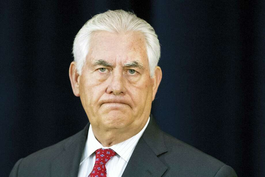 Secretary of State Rex Tillerson pauses while speaking to State Department employees at the State Department in Washington. Photo: Jacquelyn Martin — The Associated Press   / Copyright 2017 The Associated Press. All rights reserved.