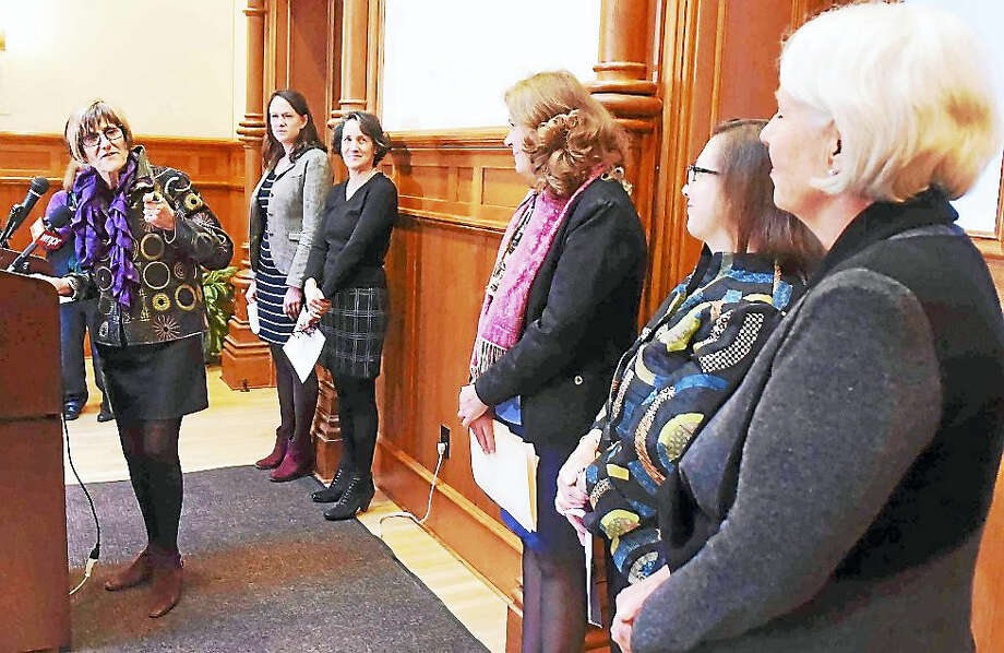 Congresswoman Rosa DeLauro (CT-03) with women and activists, holds a kick-off rally at New Haven City Hall Tuesday ahead of the Women's March on Washington, which is taking place Saturday in Washington. Photo: Peter Hvizdak — New Haven Register