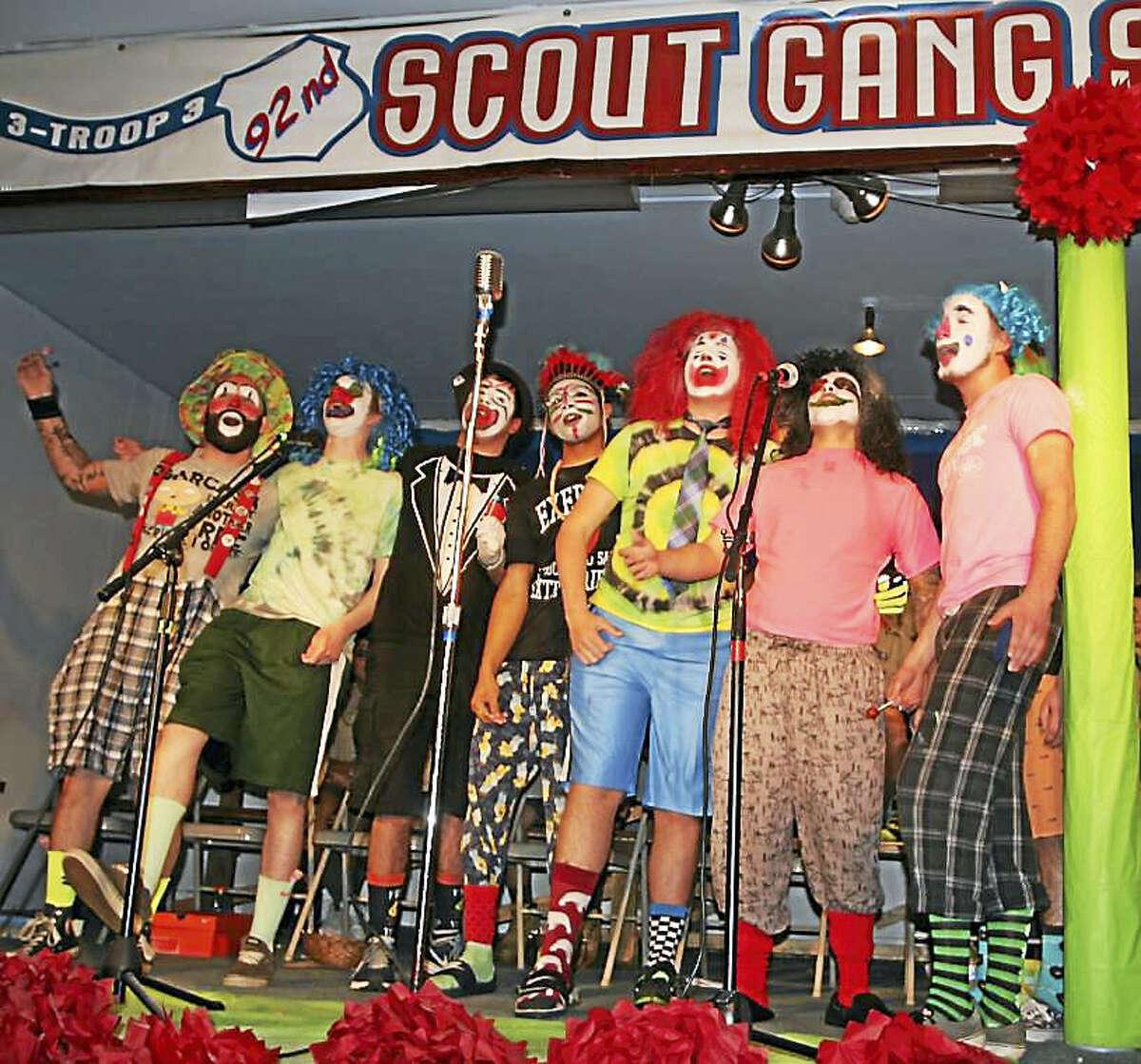 Left to right are 2016 Gang Show Endmen Mike McMahon, Jason Edwards, Ben Grasso, Naveen Madivala, Joe Szewczyk, James Chopak and Billy Kowarik.