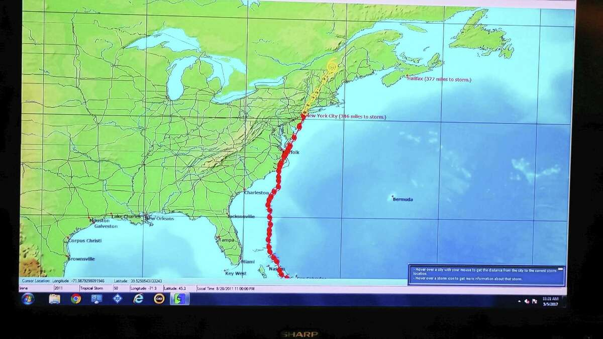 A hurricane track at the Emergency Operations Center in New Haven.