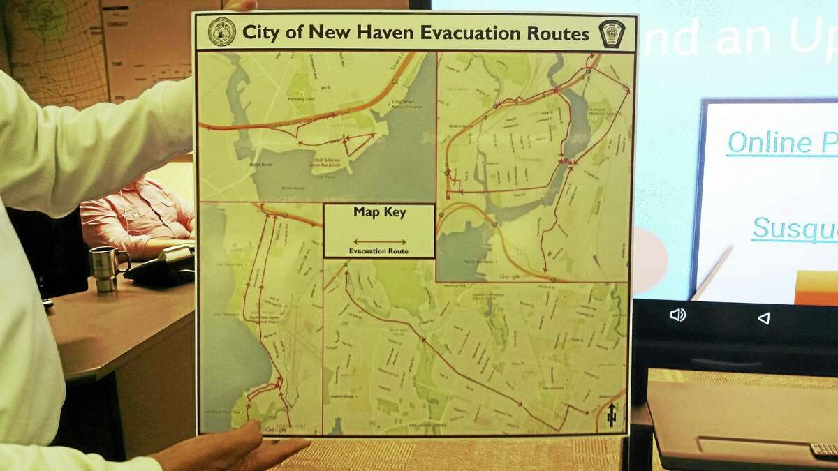 Evacuation routes are shown at the Emergency Operations Center in New Haven.