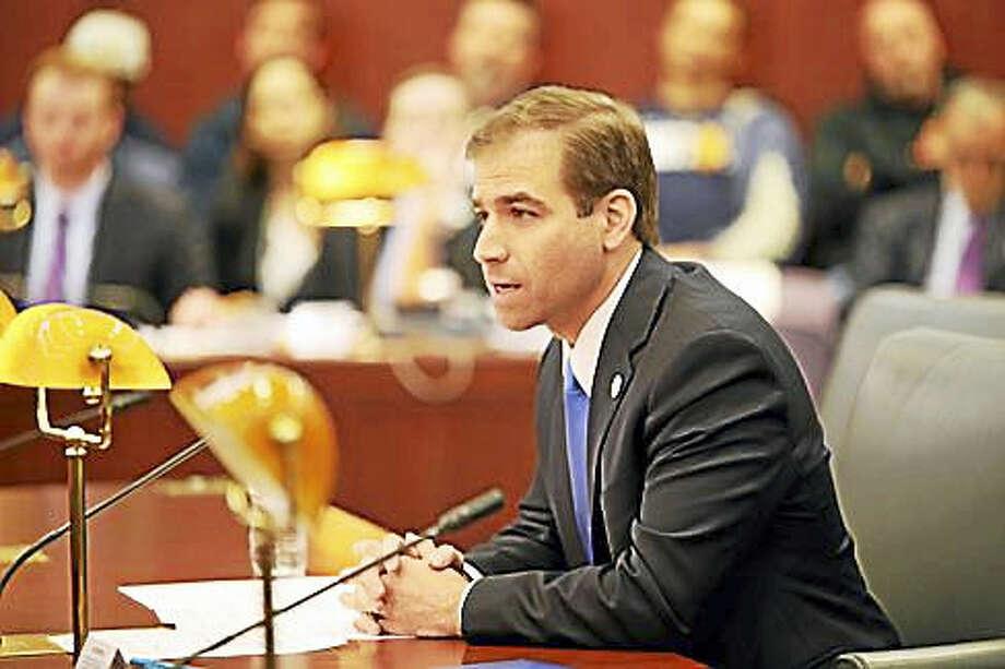 Hartford Mayor Luke Bronin last year testifying at a legislative hearing Photo: Christine Stuart — CT News Junkie File Photo