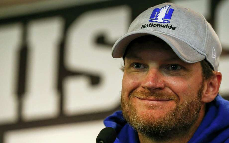Dale Earnhardt Jr. speaks at a news conference at Talladega Superspeedway, Friday in Talladega, Ala. Photo: Butch Dill — The Associated Press   / Associated Press