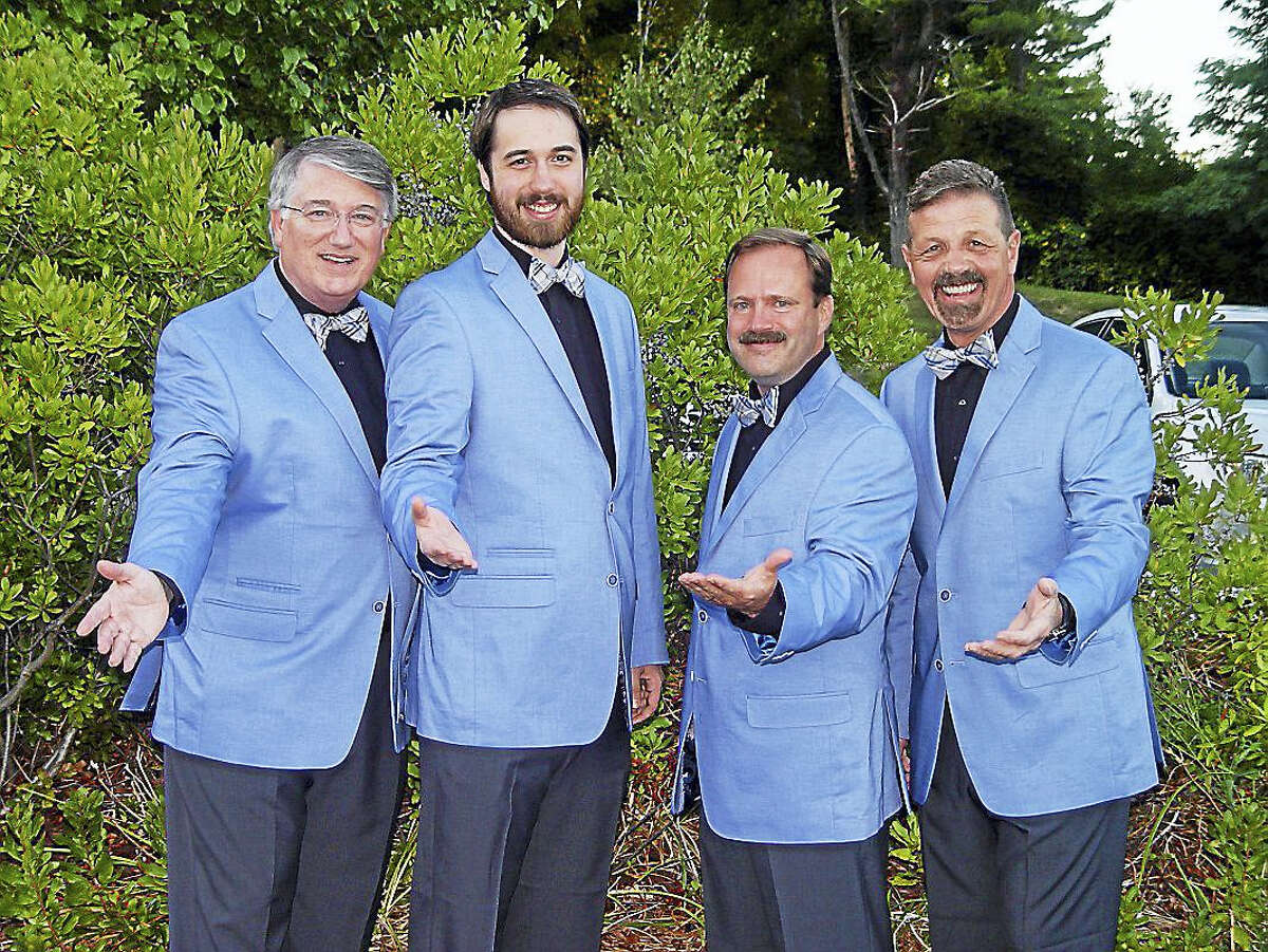 Take 4 will be one of the quartets delivering Singing Valentines for the Coastal Chordsmen: From left are David Hunter, baritone, Shelton; Jordan Kugler, lead, New Haven; Scott Poarch, Newtown; and Vic Lembo, Beacon Falls.