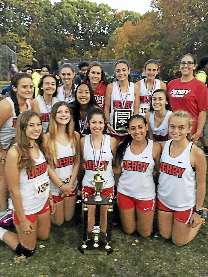 Members of the Derby High School girls cross-country team. Photo: CONTRIBUTED PHOTO