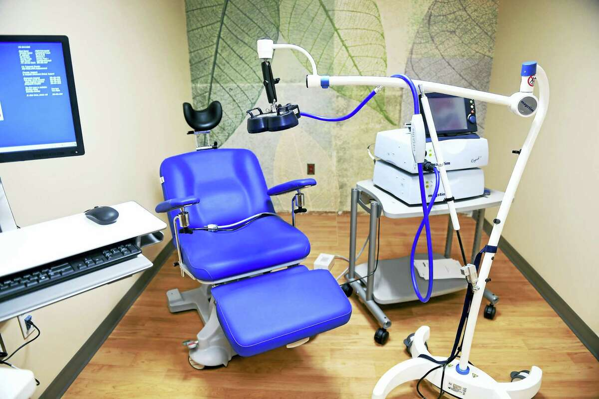 A room devoted to transcranial magnetic stimulation therapy at the Yale New Haven Psychiatric Hospital.