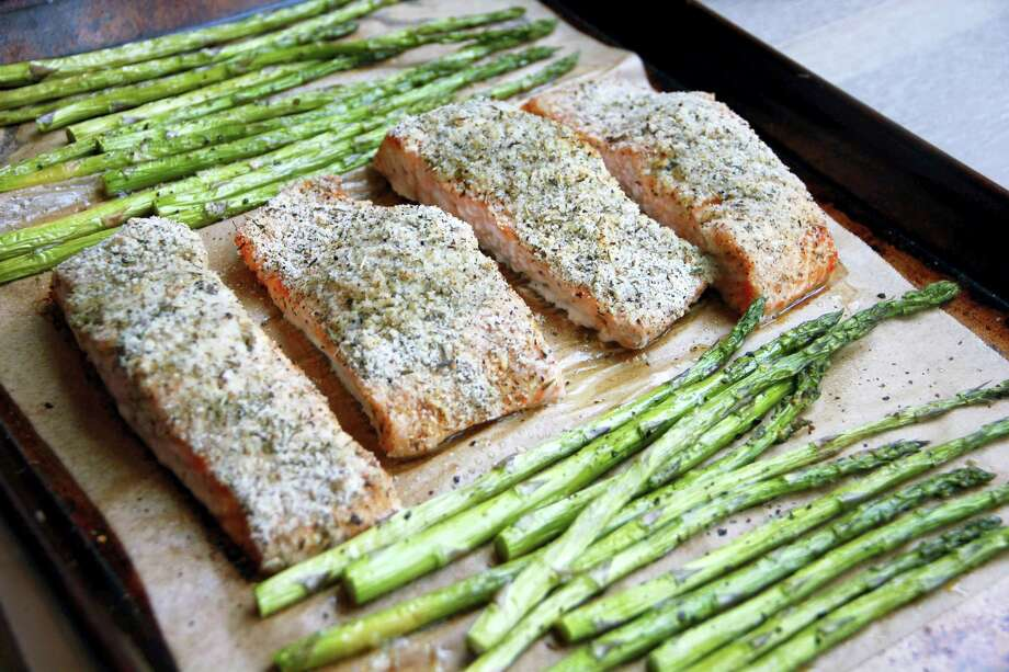 Sheet-pan salmon and asparagus Photo: Melissa D'Arabian — The Associated Press   / Melissa d'Arabian