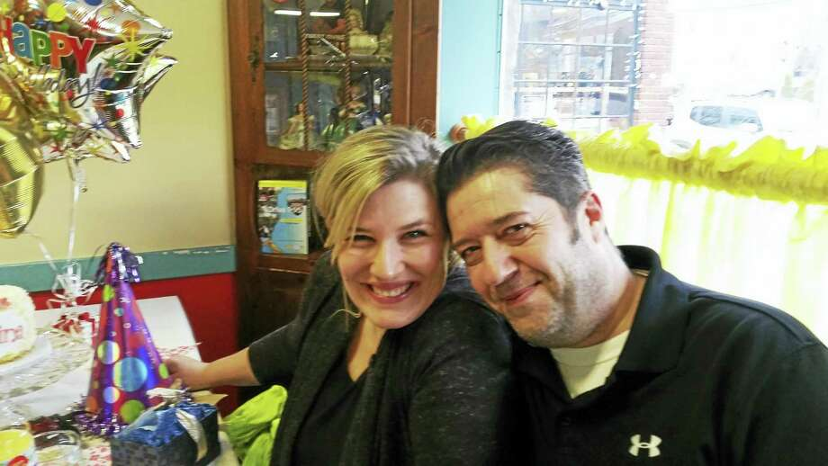 Thomas Grubmueller and his girlfriend, Martina Duemler, at The Corner in Milford. Photo: Pamela McLoughlin — New Haven Register