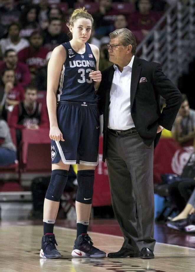 UConn's Katie Lou Samuelson, left, listens to head coach Geno Auriemma. Photo: The Associated Press File Photo   / FR170982 AP