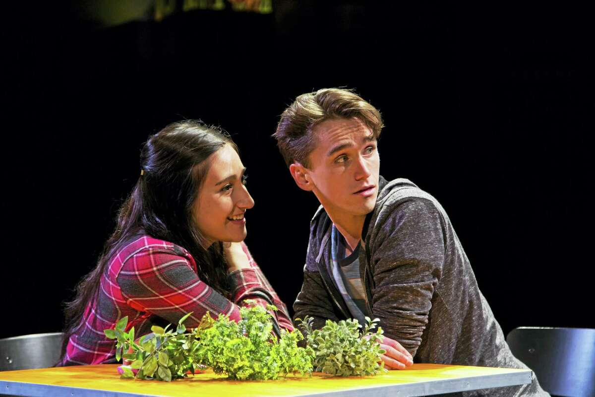 Krystina Alabado and Tyler Jones in a scene at Long Wharf.