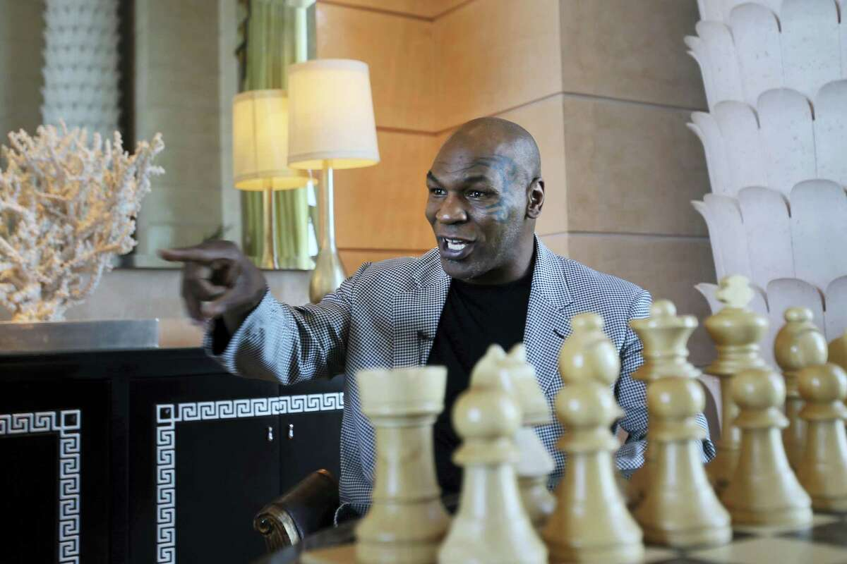 Mike Tyson speaks during an interview with The Associated Press in Dubai on Thursday. Tyson is in Dubai to announce the start of his worldwide boxing gym franchise. Tyson said that a city like Dubai can show people the best of the Middle East, its people and Islam.