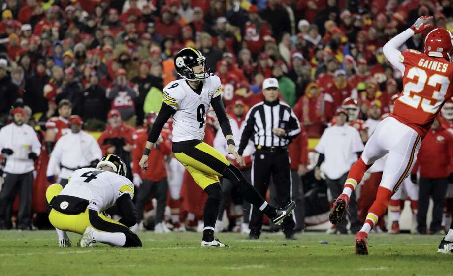 Steelers kicker Chris Boswell (9) kicks a field goal during the first half Sunday. Photo: Charlie Riedel — The Associated Press   / Copyright 2017 The Associated Press. All rights reserved.