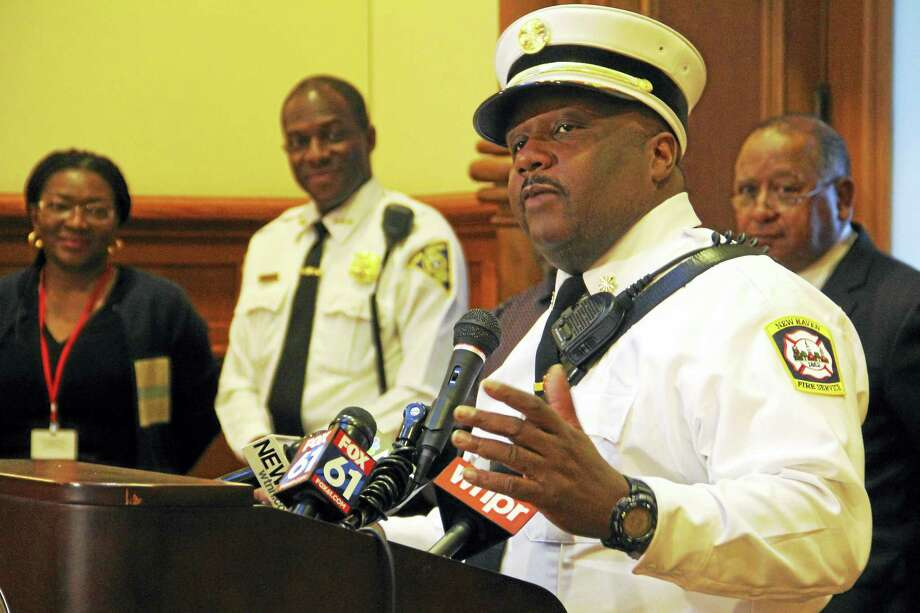 New Haven Fire Chief John Alston Jr. during a press conference at City Hall. Photo: Esteban L. Hernandez — New Haven Register