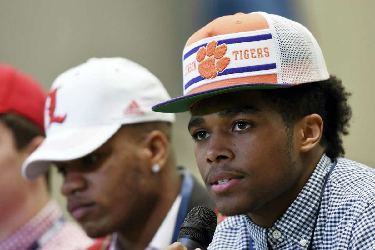 Leanthony Williams of Roswell, who committed to Clemson, speaks during a signing day event in Atlanta on Feb. 1, 2017.