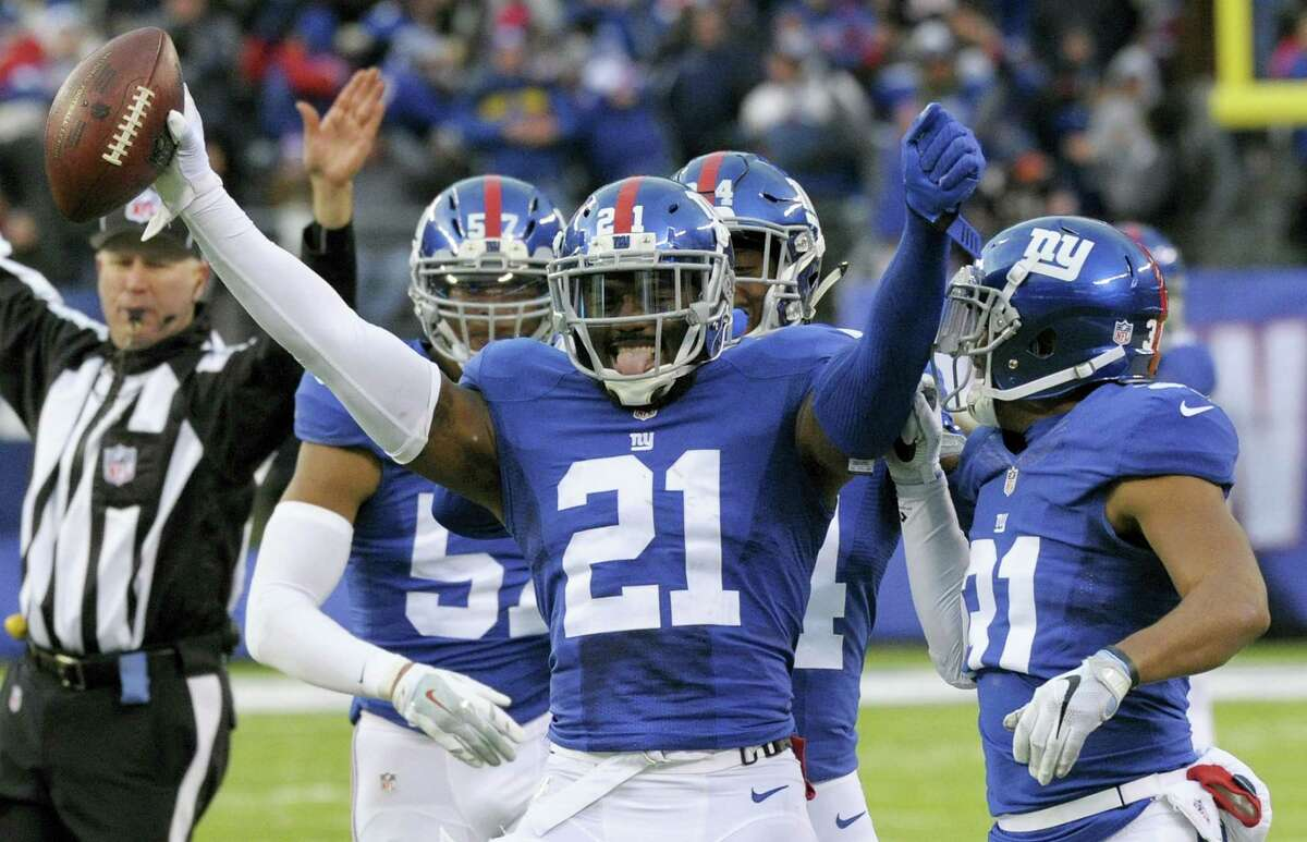 In this file photo, Giants strong safety Landon Collins (21) celebrates after intercepting a pass by the Bears. In 2016, Collins went from one of the NFL's most promising young defensive players to one of its best.