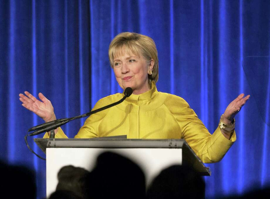 AP Photo/Kevin Hagen, File   In this April 20, 2017, file photo, former Secretary of State Hillary Clinton speaks in New York. Clinton said Tuesday, May 2, 2017, that she's taking responsibility for her 2016 election loss but believes misogyny, Russian interference and questionable decisions by the FBI also influenced the outcome. Photo: AP / FR170574 AP