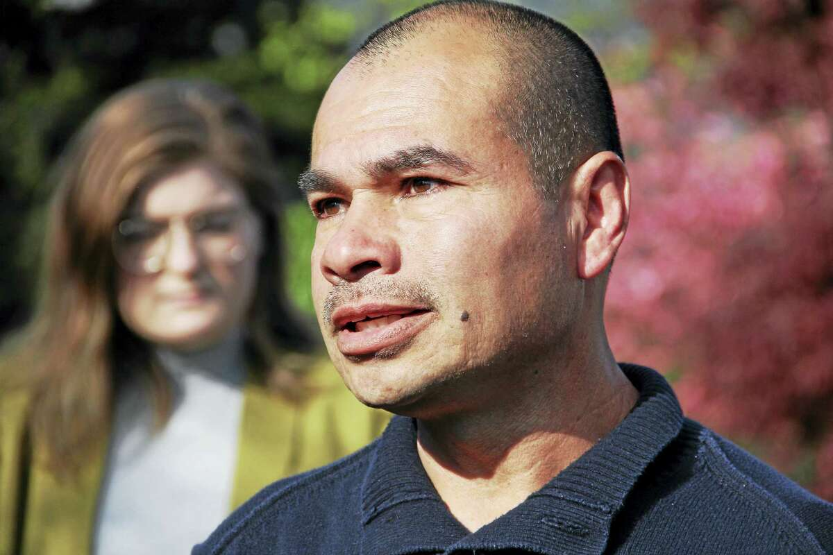 Luis Barrios speaks to the press after learning a temporary stay was granted to avoid his deportation on Wednesday, May 3, in Derby. Esteban L. Hernandez New Haven Register