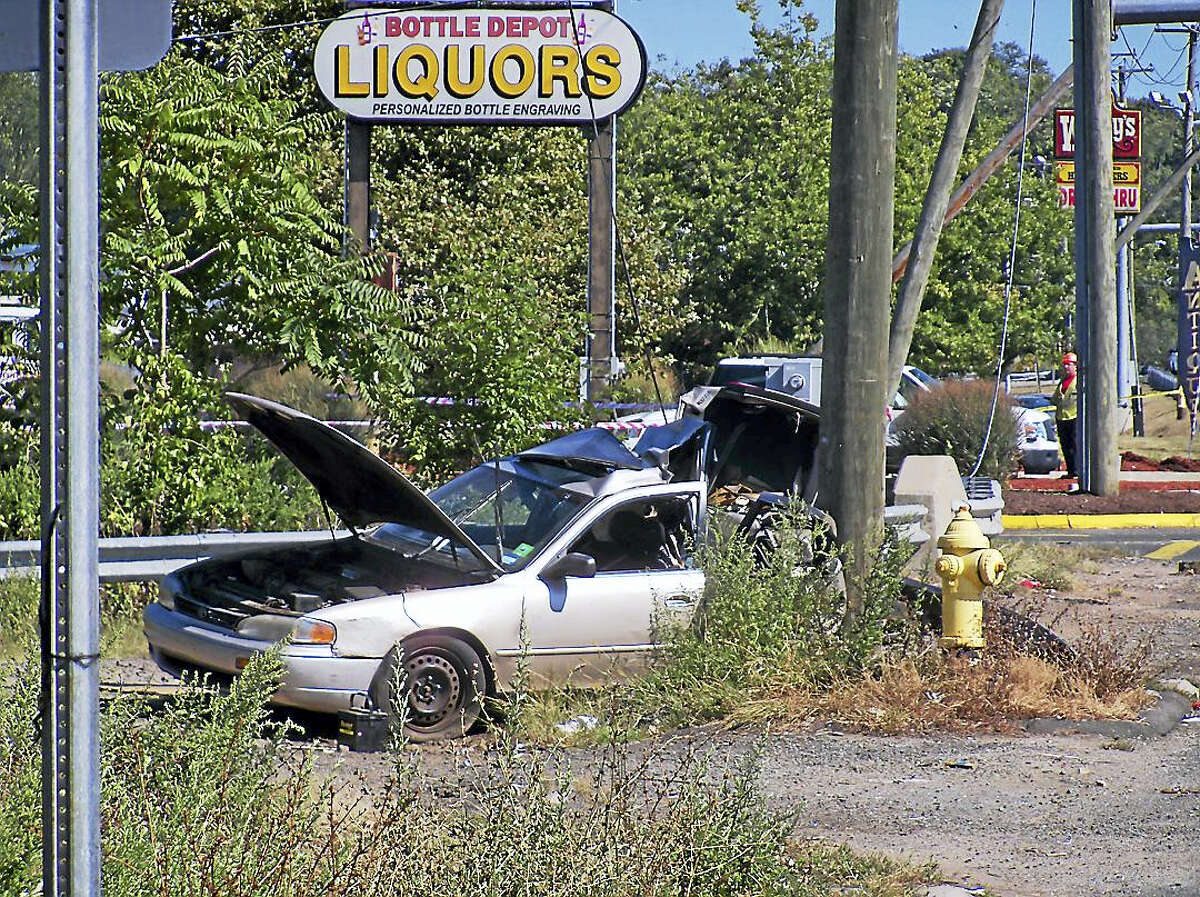 Part of Frontage Road in East Haven was shut down in September after a car crashed into a utility pole.