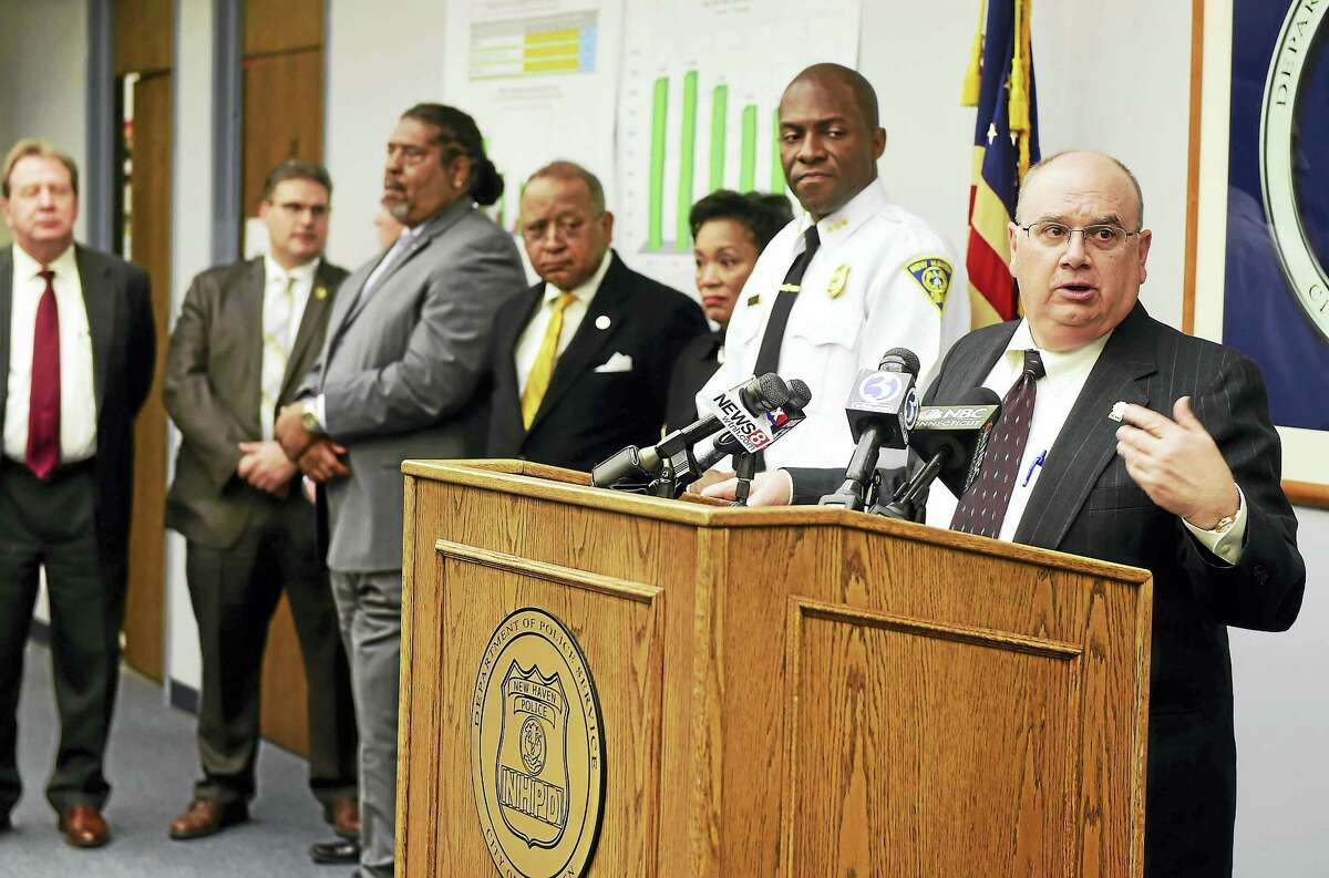 New Haven Assistant Police Chief Achilles Generoso speaks during a press conference Thursday at New Haven police headquarters discussing 2016 crime statistics.