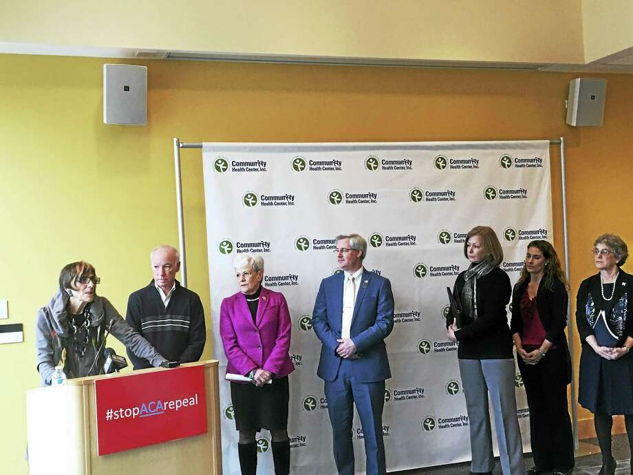 U.S. Rep. Rosa DeLauro, D-3, speaks at a forum Saturday in Middletown on the effects of repealing the Affordable Care Act. Next to her are, l-r): U.S. Rep. Joe Courtney (D-2), Lt. Gov. Nancy Wyman, Dr. Jeffrey Gordon of the Connecticut State Medical Society, registered nurse Michelle Hurteau, Dr. Rebecca Andrews of the UConn Health Center and Judy Stein of the Center for Medicare Advocacy. Photo:  Contributed Photo — Allison Dodge