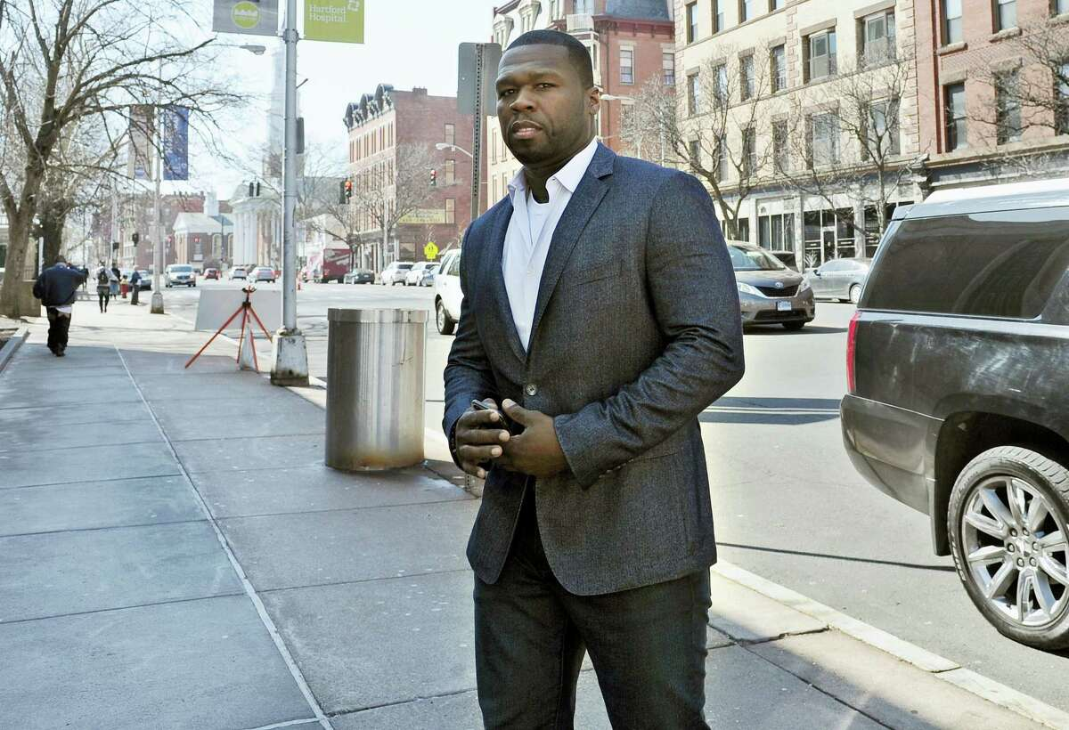 "Curtis ""50 Cent"" Jackson arrives at court for a federal bankruptcy hearing in Hartford in March 2016."