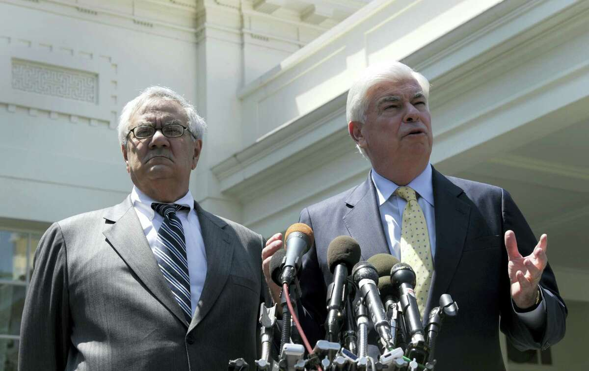 In this May 21, 2010, file photo, then-Senate Banking Committee Chairman Sen. Christopher Dodd, D-Conn., right, and then- House Financial Services Committee Chairman Rep. Barney Frank, D-Mass., speak to reporters outside the White House in Washington, after their meeting with President Barack Obama. House Republicans headed toward a vote June 8, 2017, on dismantling sweeping financial rules established under Obama that were designed to head off economic meltdowns. Republicans are arguing that the many requirements imposed under what is known as the Dodd-Frank Act have actually harmed economic growth by making it harder for consumers and businesses to get credit.