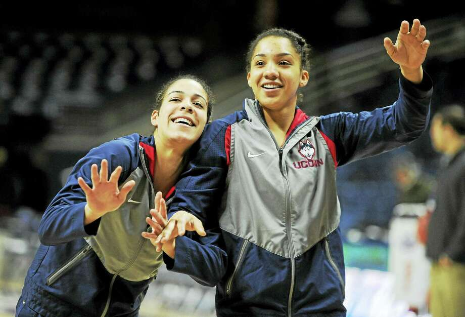 UConn's Kia Nurse, left, and Gabby Williams share a playful moment during warmups before an NCAA tournament game last March. Photo: The Associated Press File Photo   / AP2016