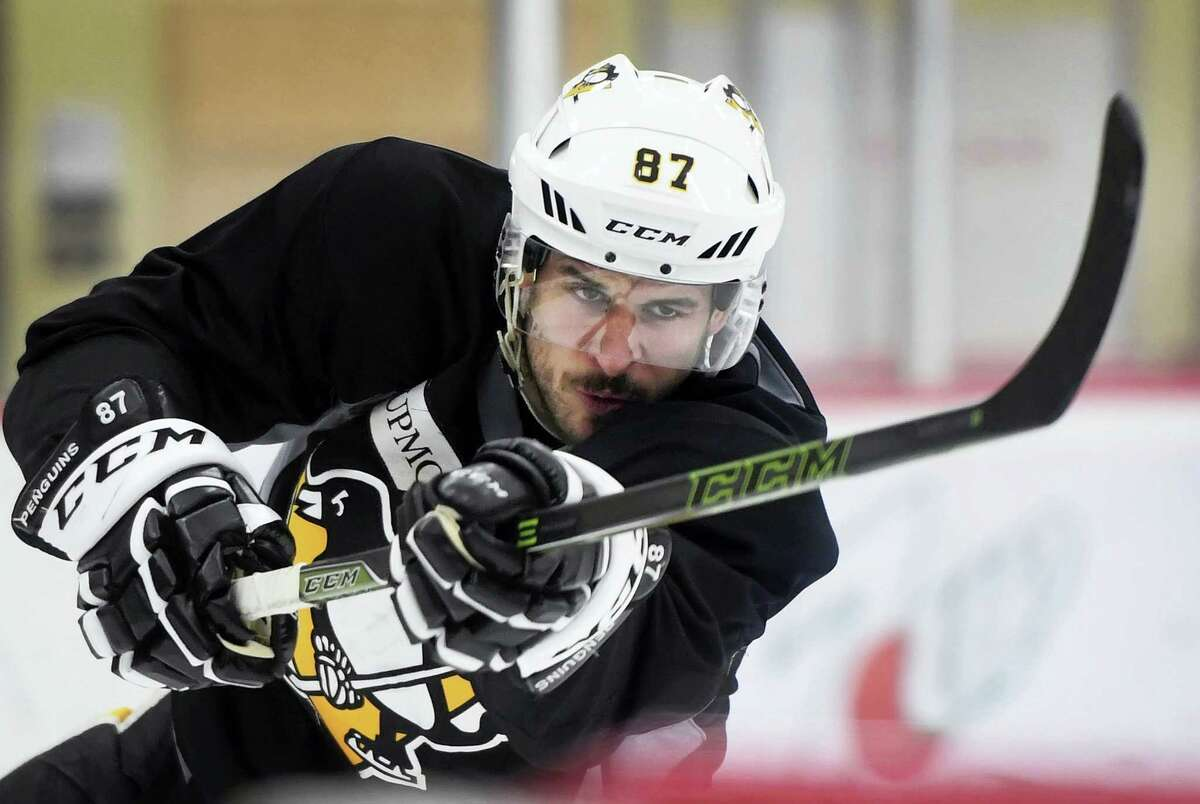 Pittsburgh Penguins team captain Sidney Crosby shoots the puck during practice at the UPMC Lemieux Sports Complex in Cranberry, Pa., Wednesday. The Penguins host the Nashville Predators in Game 5 of the NHL Stanley Cup hockey finals tonight.