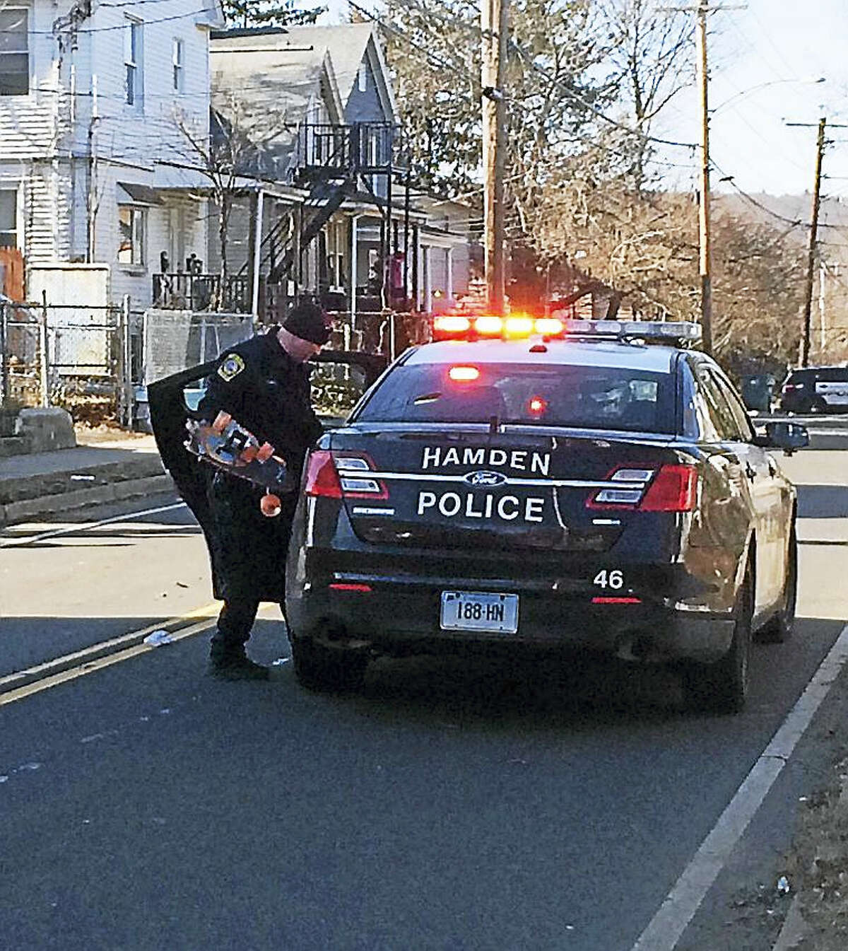 Part of Arch Street in Hamden was shut down for a short time Friday morning after a skateboarder was hit by a car. The impact broke the skateboard in half but its rider's injuries were not considered life-threatening.