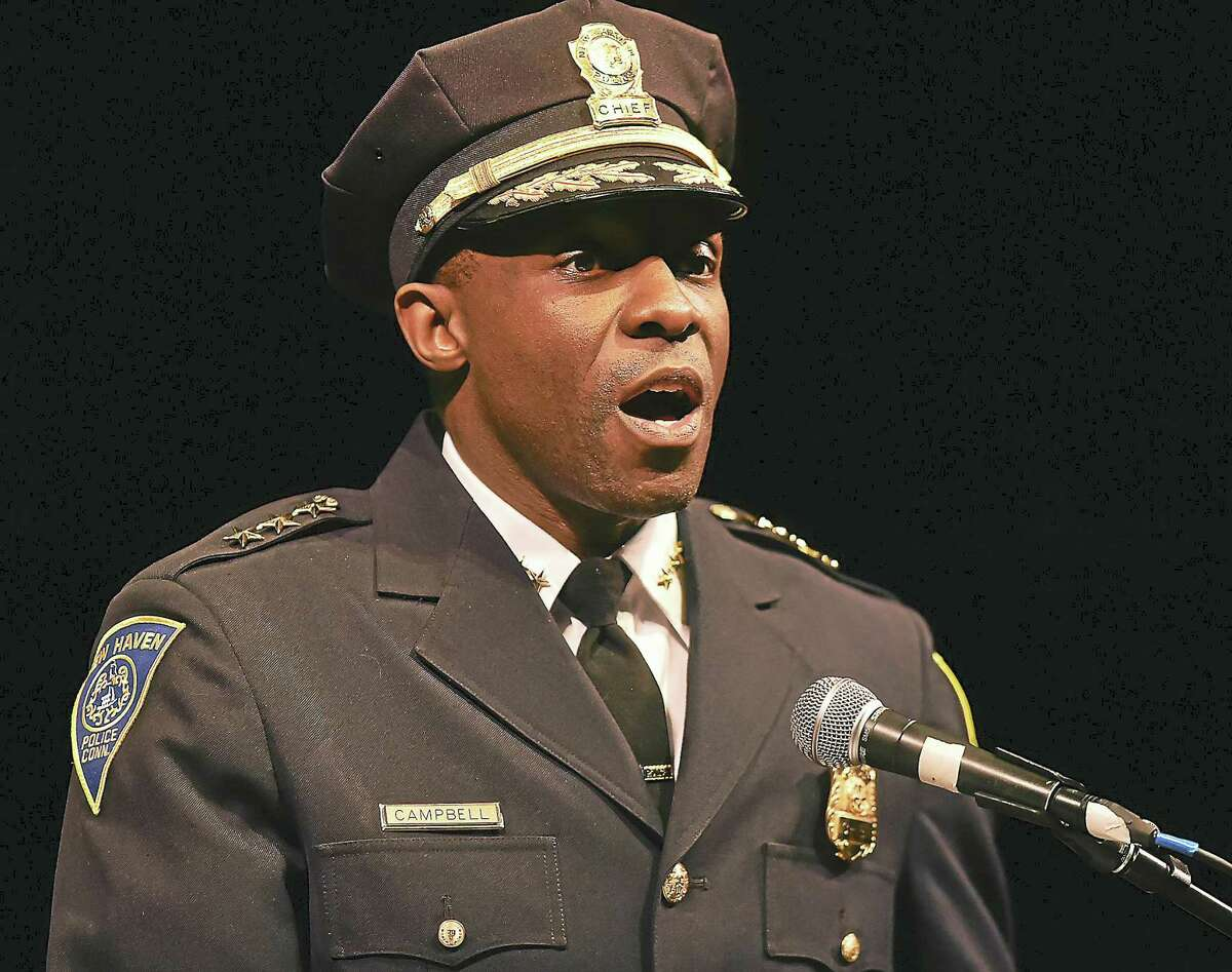Anthony Campbell was sworn in as New Haven police chief Tuesday evening.