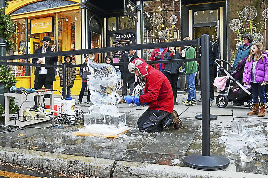 A previous ice carving demonstration. Photo: CONTRIBUTED PHOTO — Shops At Yale