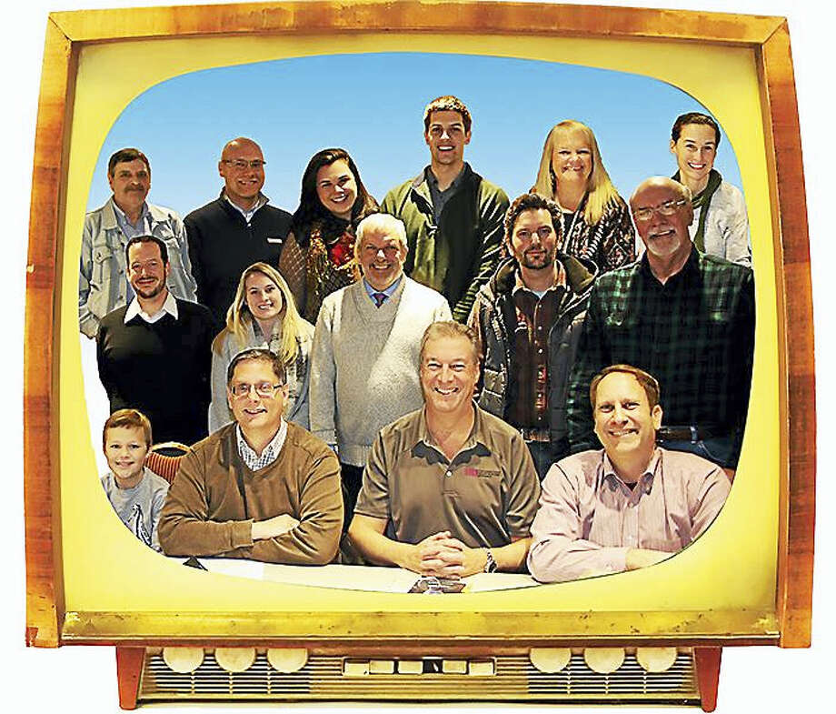 Saybrook Stage Company members framed by Farnsworth's invention. Photo: Contributed