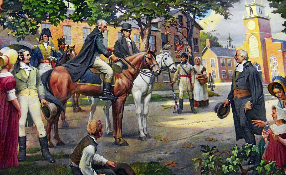 A painting of James Monroe on his northern tour, in Ohio.