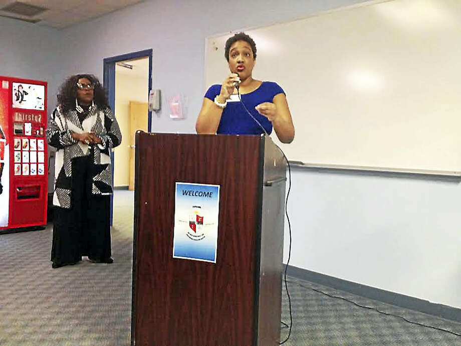 Adult and Continuing Education Center Principal Fallon Daniels announces Friday the launch of three satellite locations for the center. Photo: Brian Zahn — New Haven Register