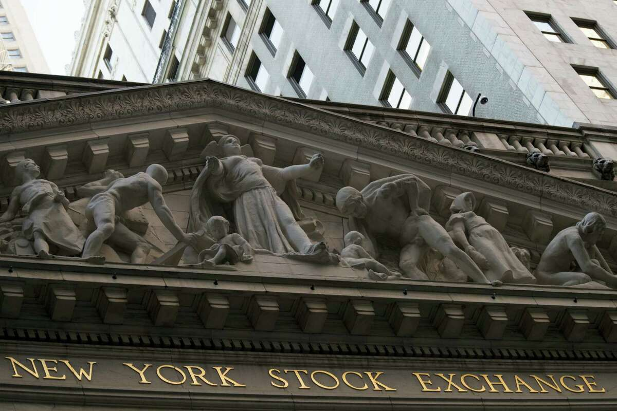 The New York Stock Exchange at sunset.