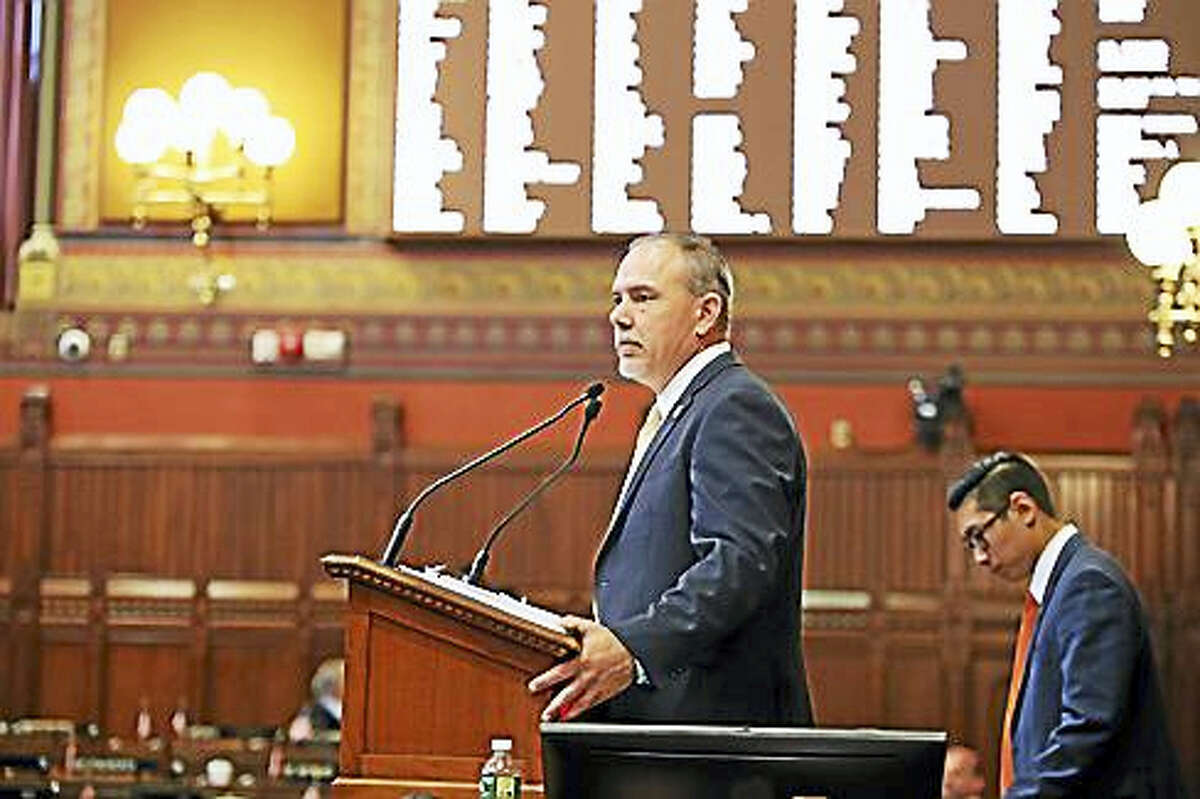 House Speaker Joe Aresimowicz at the dias Wednesday morning.