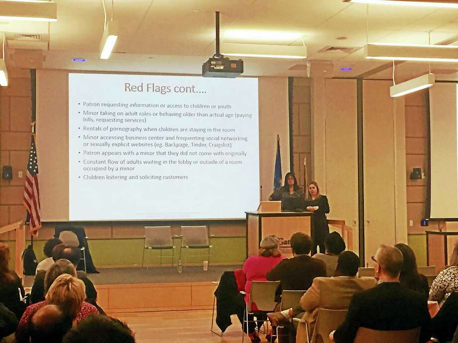 Erin Williamson, survivor care coordinator for Love146, gives a presentation on the warning signs of human trafficking at Gateway Community College Thursday. Photo: Anna Bisaro — New Haven Register