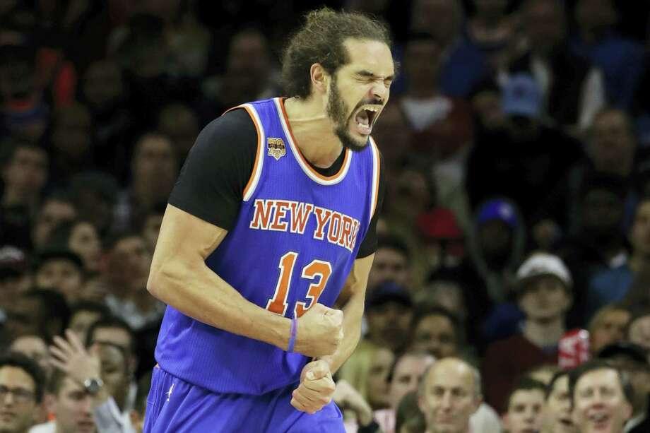 New York Knicks' Joakim Noah in action during an NBA basketball game against the Philadelphia 76ers, Wednesday, Jan. 11, 2017, in Philadelphia. (AP Photo/Matt Slocum) Photo: AP / Copyright 2017 The Associated Press. All rights reserved.